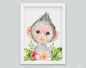 Monkey Wall Art, Watercolour Jungle Print, Safari Animal Wall Print, Nursery Wall Art, Nursery Wall Print, Baby Room Wall Print, Baby Animal