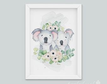 Koala Wall Art, Watercolour Koala Print, Australian Animal Wall Print, Nursery Wall Art, Nursery Wall Print, Baby Room Wall Print