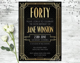 40th Birthday Invitations Gatsby Invitation 1920s Personalised Invite Adult