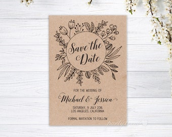 Save The Date Cards, Rustic Save The Date, Personalised Save The Date, Magnet Save The Date, Wedding Cards, Recycled Kraft Cards