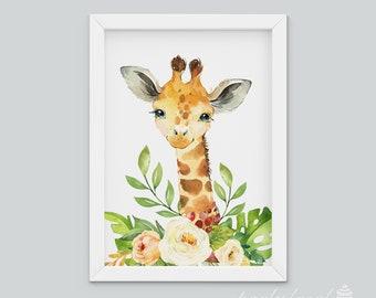 Giraffe Wall Art, Watercolour Jungle Print, Safari Animal Wall Print, Nursery Wall Art, Nursery Wall Print, Baby Wall Print, Baby Animal