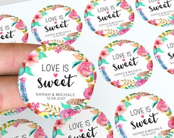 Love Is Sweet Stickers, Personalised Labels, Lolly Jars, Wedding Favour, Floral Wedding Stickers, Party Bag Favour, Candle Favour Stickers