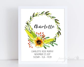 Baby Announcement, Sunflower Birth Print, Personalised Birth Print, Birth Wall Print, Art Print, Birth Announcement Wall Art, PRINTABLE
