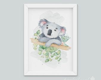 Watercolour Koala Print, Australian Animal Wall Print, Koala Wall Art, Nursery Wall Art, Nursery Wall Print, Baby Room Wall Print