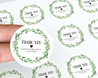 Thank You Stickers, Personalised Labels, Lolly Jar Stickers, Wedding Favour, Floral Wedding Stickers, Party Bag Favour, Candle Stickers