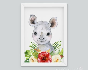 Rhinoceros Wall Art, Watercolour Jungle Print, Safari Animal Wall Print, Nursery Wall Art, Nursery Wall Print, Baby Wall Print, Baby Animal