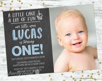 Boys 1st Birthday Invitation First Chalkboard Party Invite Invitations