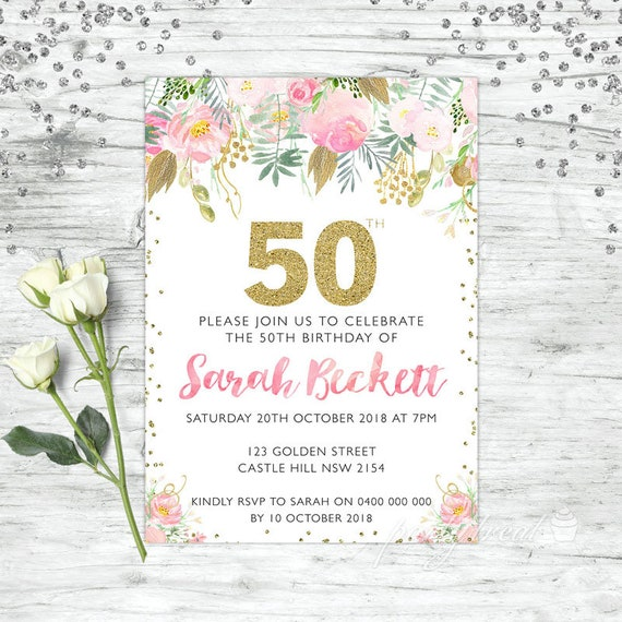 50th Birthday Invitations Pink Invitation Personalised Watercolour Invite Adult