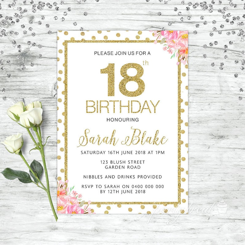 18th Birthday Invitations Gold Party Invites