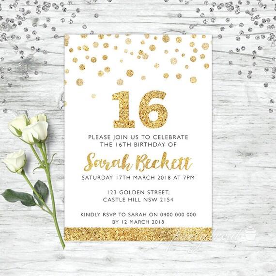 16th birthday invitations 16th birthday gold party invites etsy