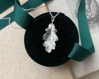 Sterling Silver Small Oak Leaf Necklace