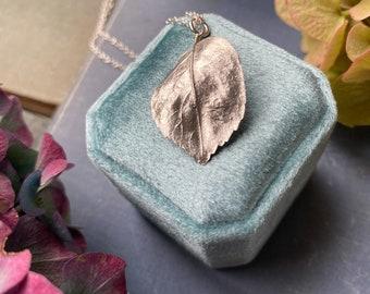 Sterling Silver Rose Leaf Necklace