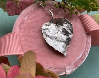 Sterling silver Birch Leaf Necklace, leaf necklace, autumn necklace
