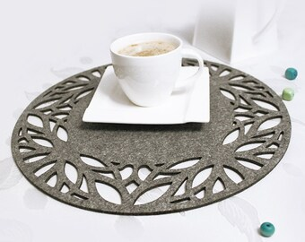 Felt placemat, modern placemat, stylish placemat, table placemat, round, 19 colors - Roma