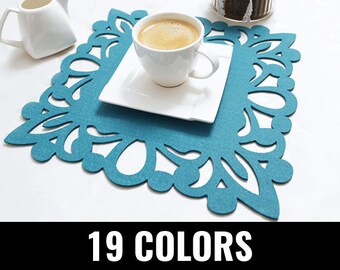 Felt placemat, modern placemat, stylish placemat, table placemat, square, 19 colors - Atlanta