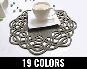 Felt placemat, modern placemat, stylish placemat, table placemat, round, 19 colors - Malibu