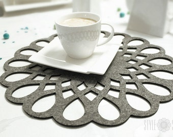 Felt placemat, modern placemat, stylish placemat, table placemat, round, 19 colors - Barcelona - SET OF 4