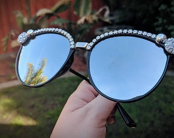 Silver mirrored cateye sunglasses bedazzled sunglasses black and silver
