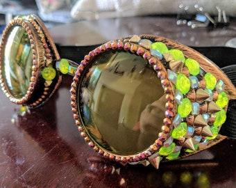 Steampunk cyberpunk yellow gold bronze neon yellow burning man goggles festival goggles