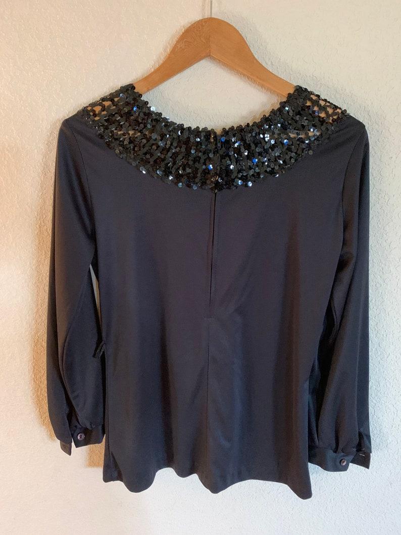 Vintage Teddi California Black blouse with Sequins trim on neck Size 10