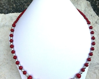 Necklace red and silver style retro chic