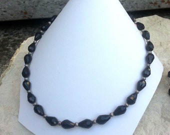 Black Pearl Necklace glass pears style retro chic - French craft
