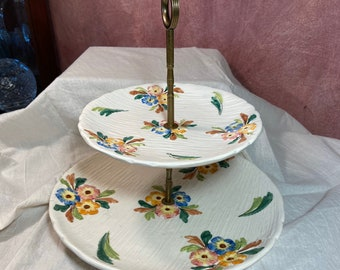 Wedding Table Decor Appetizer Sandwich Tray James Clarke Glass Two Tiered Pastry Tray Wedding Cake Dish Vintage Tiered Patisserie Tray