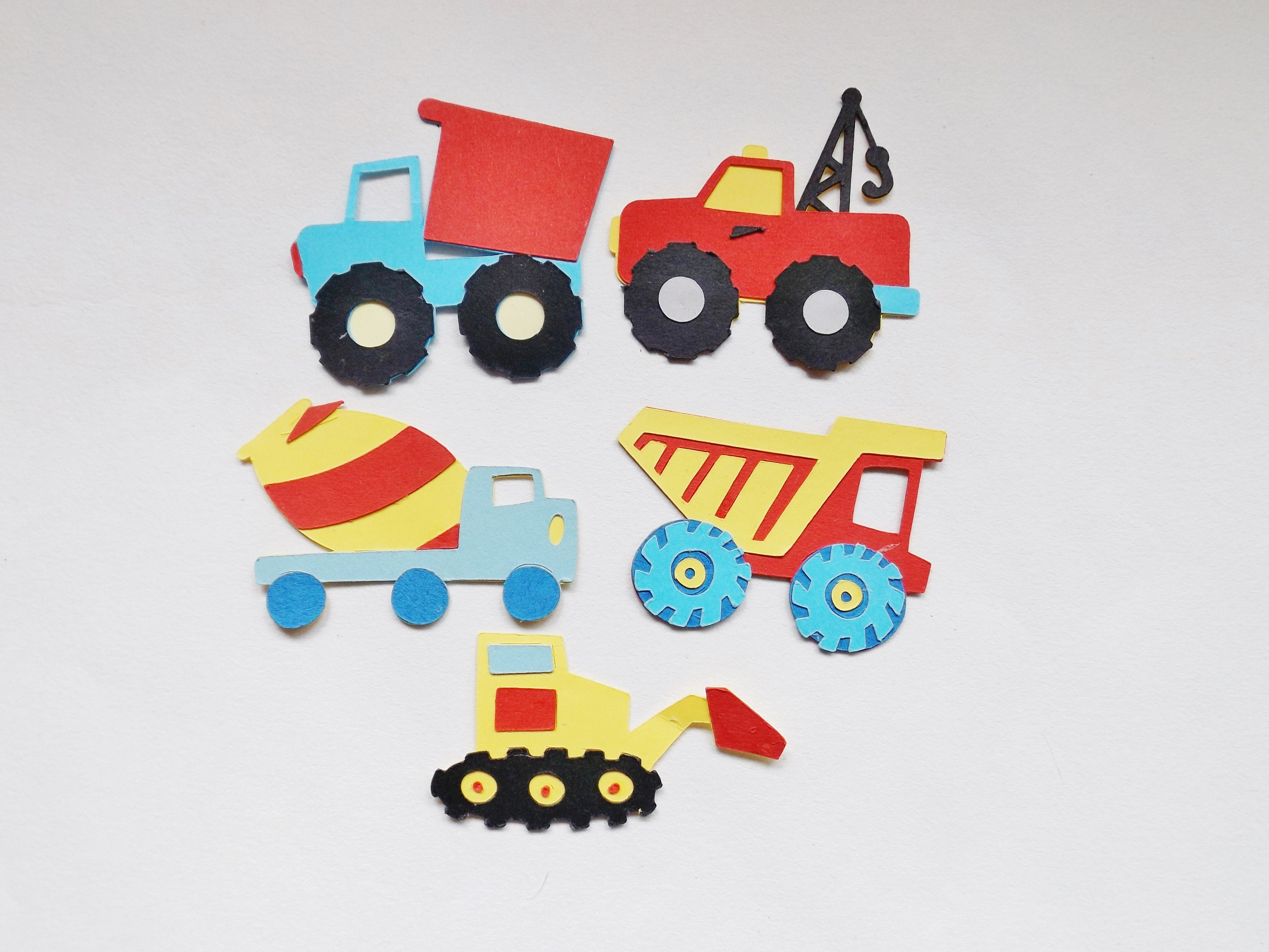 Childrens crafts Cardmaking Wooden Trucks and Diggers x 12 per pack