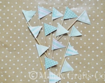 Mint Pastel Cup Cake Toppers Party Baking Embellishments Paper Craft Supplies x 15