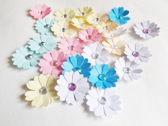 Small detailed Flowers 30 Floral Craft Embellishments Mixed Colours