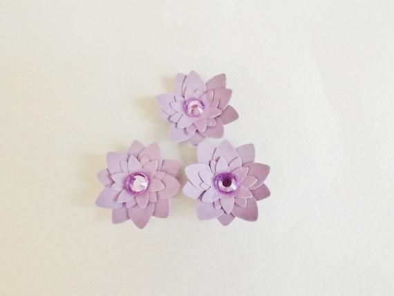 Lotus Flower Paper Craft Embellishments Card Making Topper Scrapbooking Supplies