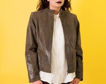 Vintage Leather Printed Jacket