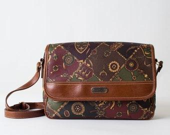 Vintage Patterned Leather Cross Body Bag
