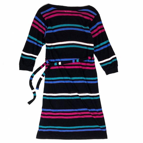 Vintage Neon Multi-Color Striped Maxi Dress