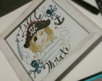 Illustration watercolor little pirate frame