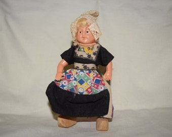 Antique 1950s Dovina Rotterdam holland plastic dutch doll with wooden clogs (shoes)