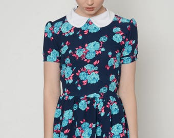 Floral Collar Baby Doll Dress