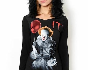 Horror It Pennywise Faux Fur Hoodie Dress