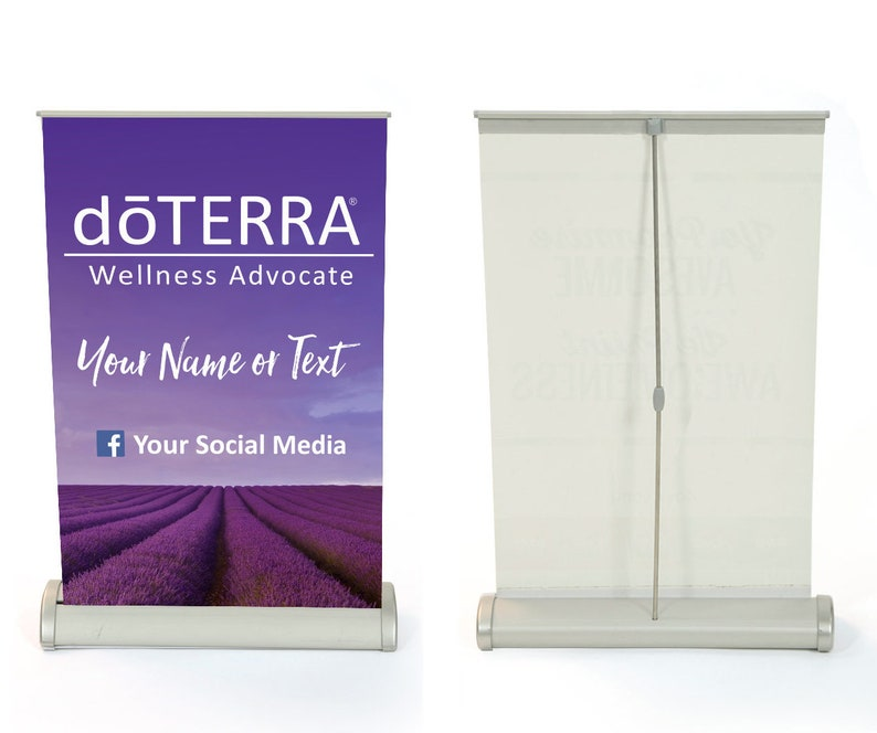 doTERRA Licensed and Approved! doTERRA Full Color Retractable Tabletop Banner Purple Sky
