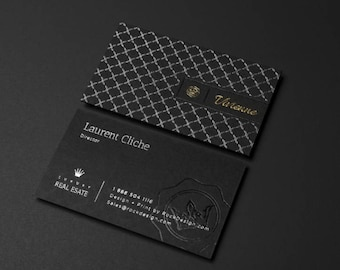 Gold foil print business cards etsy luxury black business card business card with silver and black foil stamping emboss business card reheart Gallery