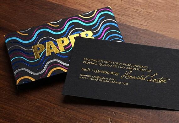Luxus Schwarz Visitenkarte Drucken Visitenkarte Mit 6 Folienprägung
