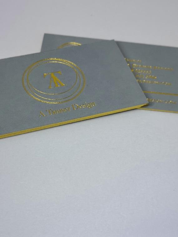 Luxus Grau Visitenkarten Design Und Druck Visitenkarte Mit Goldfolie Stanz Und Gold Rand