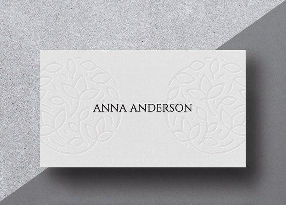 Minimale Blindprägung Visitenkarten Design Und Druck Visitenkarte Custom Visitenkarten Visitenkarten Design
