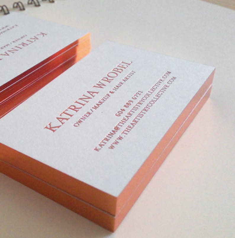 Business Card with Rose gold foil stamping and gold edge Luxury Business Card Design and Print
