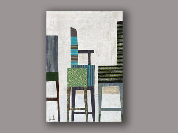 Awe Inspiring 4 Chairs Print Of Contemporary Art Israeli Painting Colorful Modern Acrylic Painting Print Of Modern Art Wall Art Design By Osshaart Machost Co Dining Chair Design Ideas Machostcouk