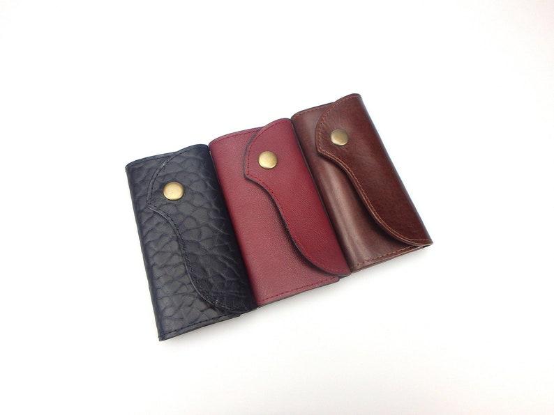 Genuine Soft Leather Key Wallet Six Keys Ring Case Trifold Purse Black Brown