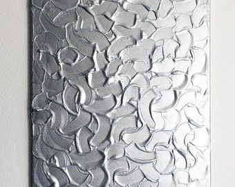 Silver Metallic Painting, Acrylic Textured Painting, Abstract Metallic Art, Acrylic Painting, Original Abstract Art, Abstract Metallic Art