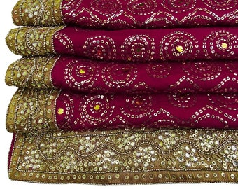 d1a325b6ebc Vintage Indian Dress Making Pink Used Hand Beaded Pure Chiffon Silk Dupatta  VDPC3975