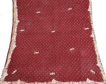 7299cd41560 Vintage Dupatta Long Indian Scarf Pure Chiffon Silk Beaded Maroon Veil  Stole VDPC1
