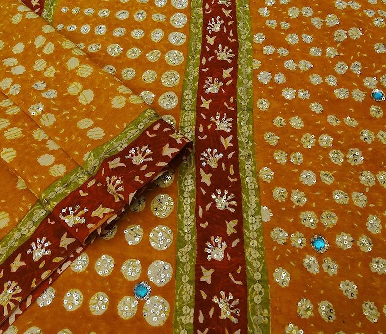 Crepe Silk Saree Vintage Hand-Beaded Craft Fabric Indian Orange Decor Used Sari VCRP3752